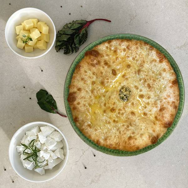 Tsakharadjin - Ossetian pie with cheese and chard/beet tops