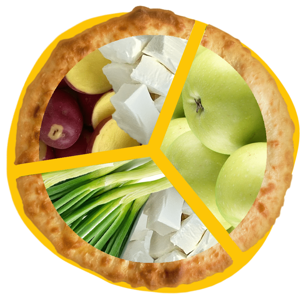 Salanti Special - Ossetian Flavours, set of Ossetian pies with potatoes and cheese, apples, cheese and spring onion
