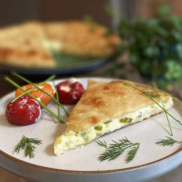 Kadinsdjin - Ossetian Pie with cheese and spring onion